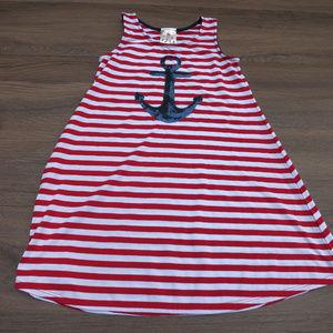 Jenna & Jesse Striped Anchor Dress Sz 8 Sequins